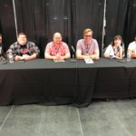 Comics panel with Talk Nerdy's Dave and Steve, Andrew Wheeler, Ryan North, Meaghan morning Carter and Paris Alleyne.
